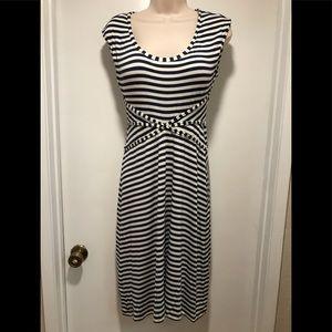Nautical Style Studio M Navy & Ivory Striped Dress